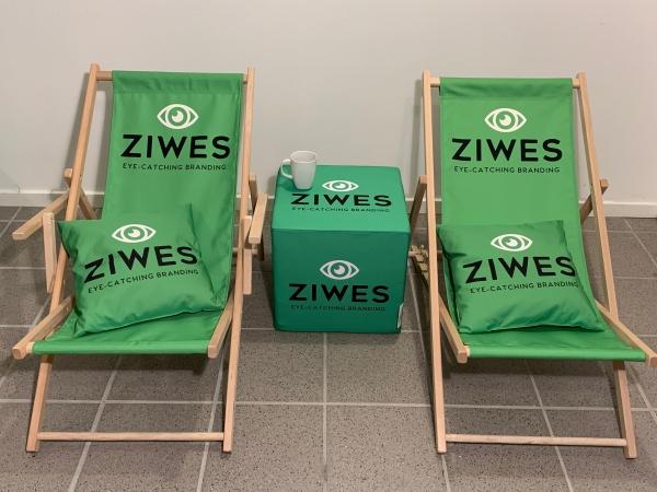 Strandstol med logo_kube med logo_ziwes eye-catching