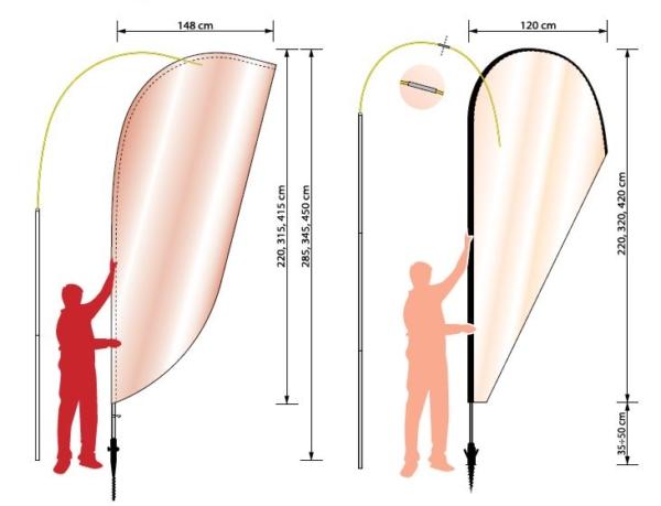 Diverse dimensioner på beachflag fra Ziwes Eye-Catching