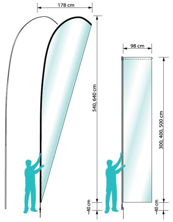 Dimensioner på Danmarks højeste beachflag